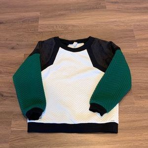 Line and dot textured crew neck sweater